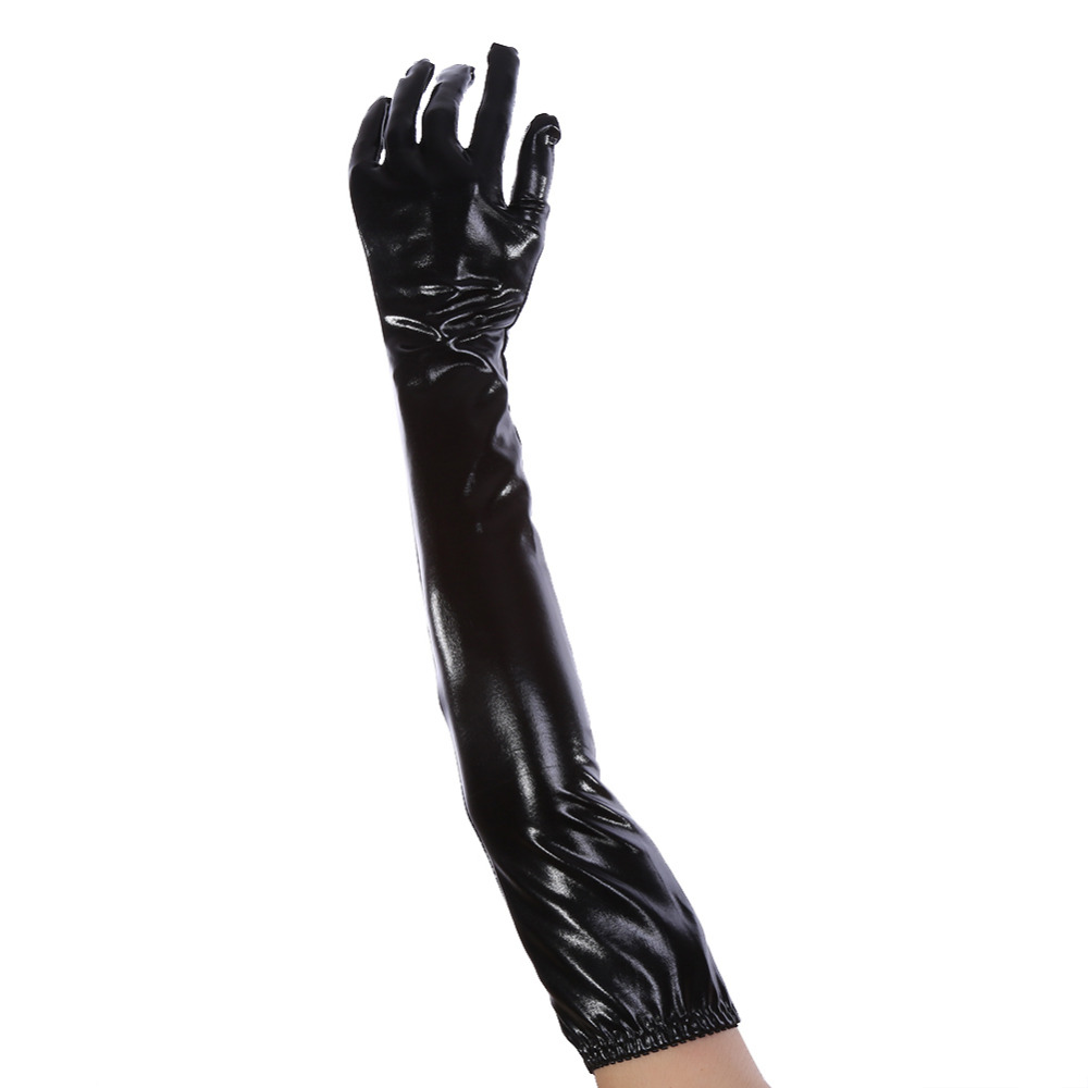 Black vinyl gloves long - Women S Leather Gloves Wet Shiny Patent Leather Sexy Elastic Elbow Long Opera Evening Gloves Genuine Patent