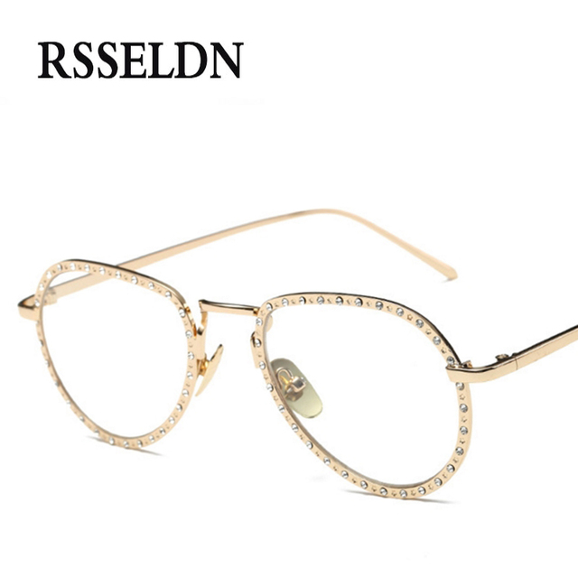RSSELDN Brand Rhinestone Eyeglass Frames Women Fashion Vintage ...