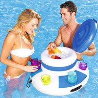 Inflatable Mattress Ice Bucket Pool Floats For Adults Drinking Beer Cooler Food Holder Party Toys Beach Island Accessories Buoy