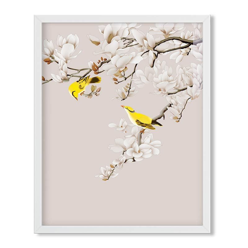 Chinese Frameless Poster Wallpaper Cherry Yellow Pheasant Modern Canvas Painting Poster Print Art Wall Picture Children's Room-in Wallpapers from Home ...