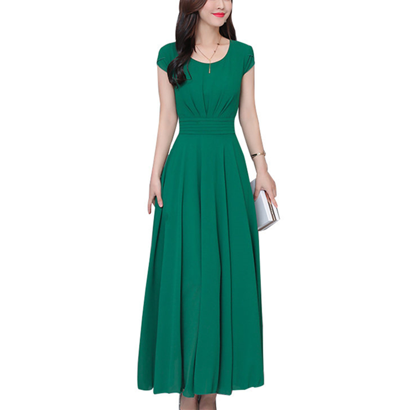 Fashion Green Elegant Chiffon Beach Dress Women 2019 Summer Solid Butterfly Sleeve O Neck Big Swing Party Dresses Femme Vestidos-in Dresses from Women's Clothing on AliExpress - 11.11_Double 11_Singles' Day 1