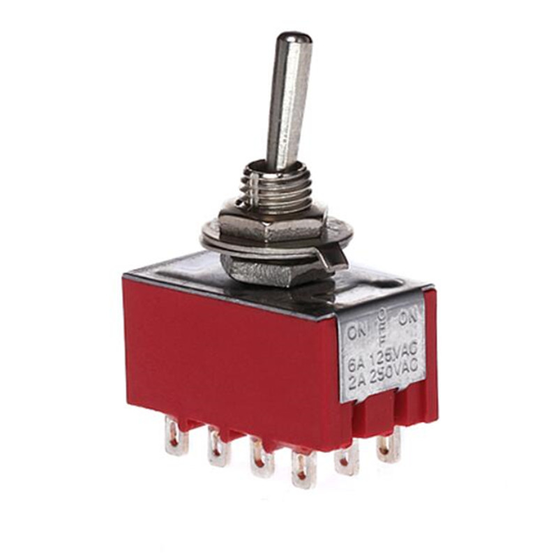2A/250VAC 6A/125VAC on-off-on 3 Way 4P2T 4PDT Toggle Switch 12 Solder Terminals image
