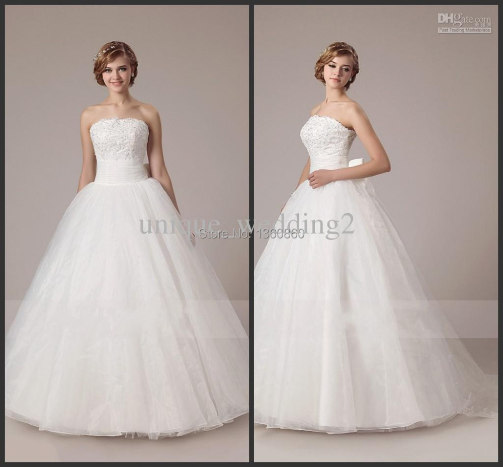The Knot Wedding Gowns: 2014 Stylish Strapless Bridal Gowns Beaded Dress Bow Knot