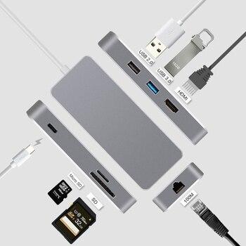 Tipo C USB C 7 en 1 multipuerto de USB 3,1 tipo C a HDMI USB 3,0 RJ45 SD/TF lector de tarjeta de adaptador de carga Convertidor para Mac