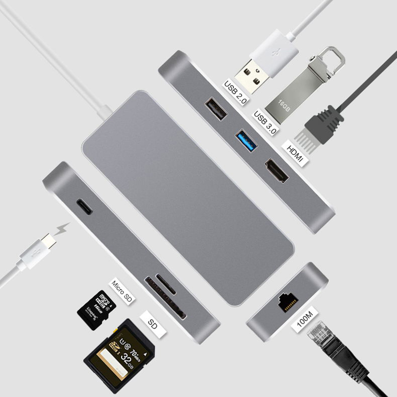 Type C USB C Hub 7 in 1 Multiport USB 3.1 Type C to HDMI USB 3.0 RJ45 SD/TF Card Reader PD Charging Adapter Converter for Mac 3 in 1 type c to hdmi usb3 0 multiport hub adapter with charging converter for macbook chromebook pixel devices