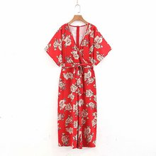 b130542e84f0 2019 women fashion flower print red kimono style jumpsuits ladies chic  cross v neck bow tied