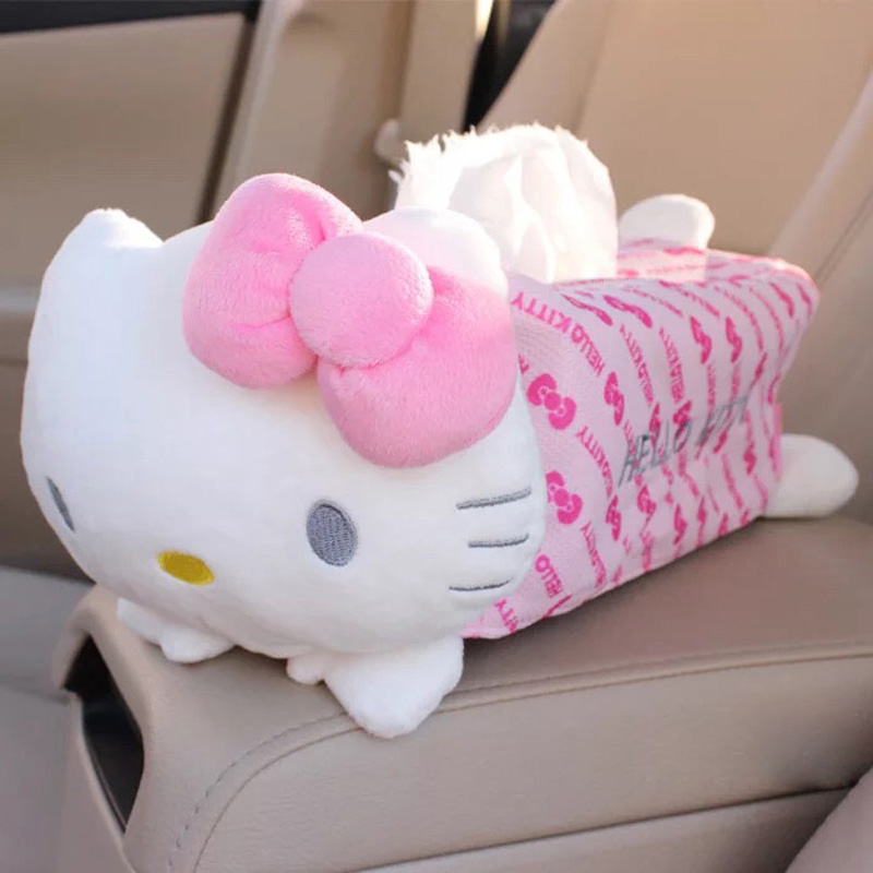 Cute Cartoon Kitty Home Car Tissue Boxes Case Holder Container Towel Napkin Papers Bag Box Pouch Car Styling