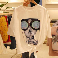 2017 Girl Glasses Printing Summer T Shirt Women Loose All Match Students Round Neck Short Sleeve