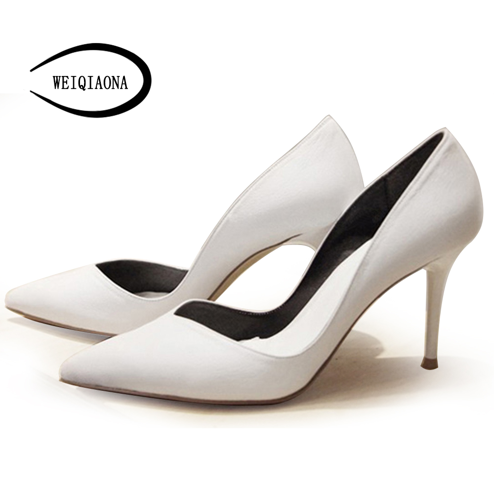 WEIQIAONA 2018 New Genuine Leather sheepskin Office women must have singles pumps Sexy Shallow OL shoes Dress shoes size 33-45 набор канцелярский must have бублик пластик уп
