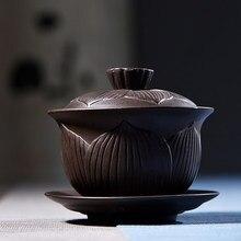 Шахта GaiWan китайский чайный набор кунг-фу Фиолетовый песок Большой Фиолетовый песок Исин высокое качество ручной работы чайник чаша