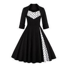2017 50s Vintage Christmas Dress for Women Elegant Autumn Patchwork Dress Casual Evening Party Swing Plus Size Dress Vestidos