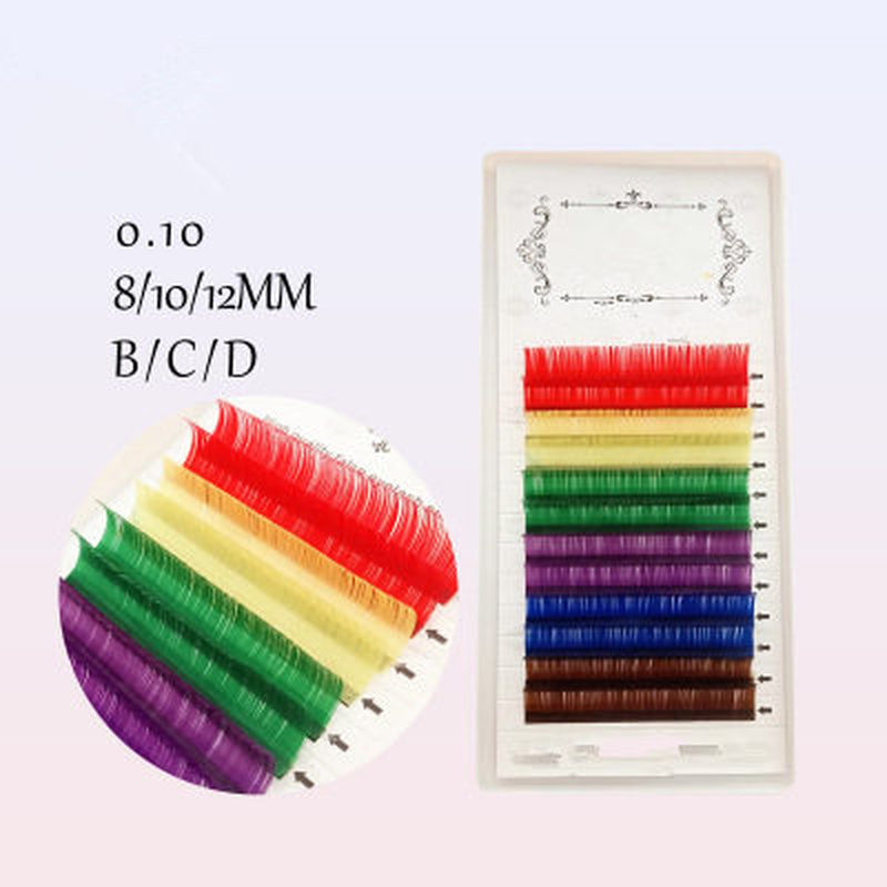 Natural Colorful Long Fake Eye Lashes 12 Rows Rainbow Handmade Thick False Eyelashes Makeup Cosmetic Beauty Extension Tools
