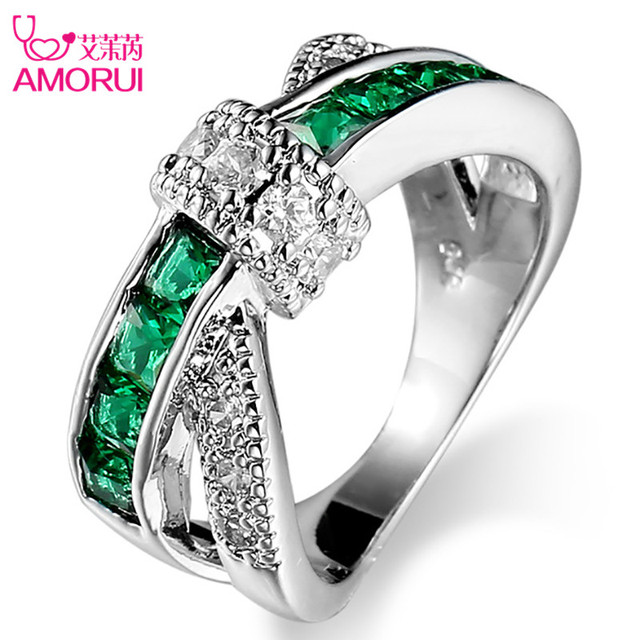 Amorui Silver Plated Bowknot Cz Stone Rings For Women Jewelry Wedding Bands Black Friday Bague Femme