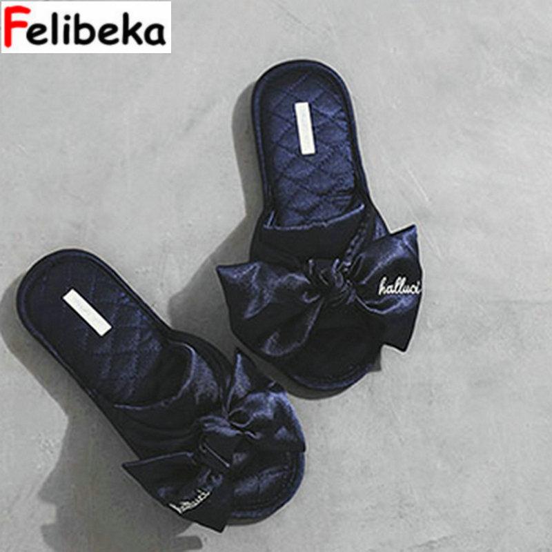 FELIBEKA Big Bowknot Silk Skid Waterproof Anti-skid Rubber Bottom Goddess Fan Indoor Household Slippers Women Shoes