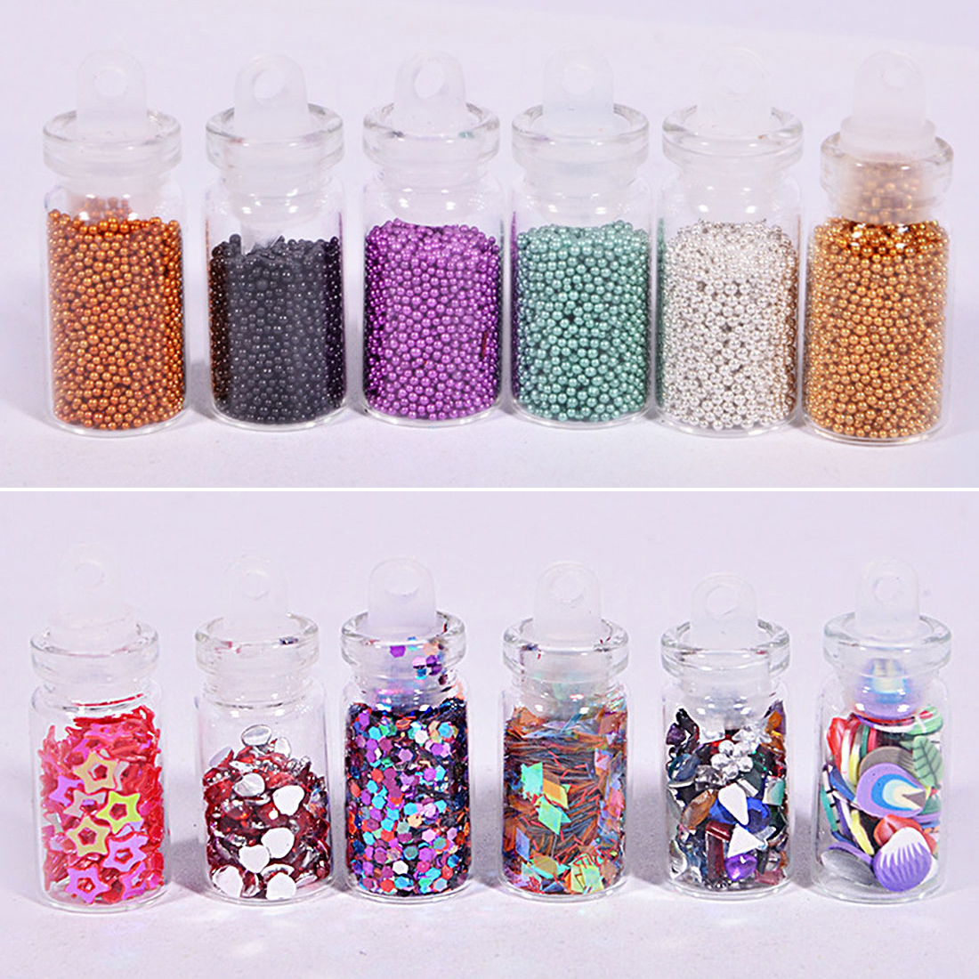 5 Designs Mixed Rhinestones Beads Sequins Paillettes Nail Glitter Powder Acrylic Tips 48 Bottles DIY Nail Art Decoration Kit 24 bottles 3d colorful shiny nail glitter powder sequins manicure festival nail art decorations for women