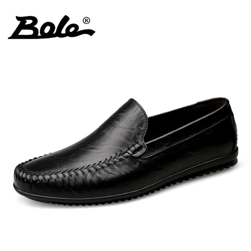 BOLE Handmade Cowhide Leather Men Shoes 2017 Fashion Slip on Business Men Casual Shoes Comfort Flats Loafers Shoes Men Footwear goodster handmade men flats leather outsole men leather shoes business casual dress shoes slip on python shoes handmade