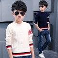 Осень осень мода мальчик дети синий Бордовый жаккардовые свитера кремового цвета детей TOP15