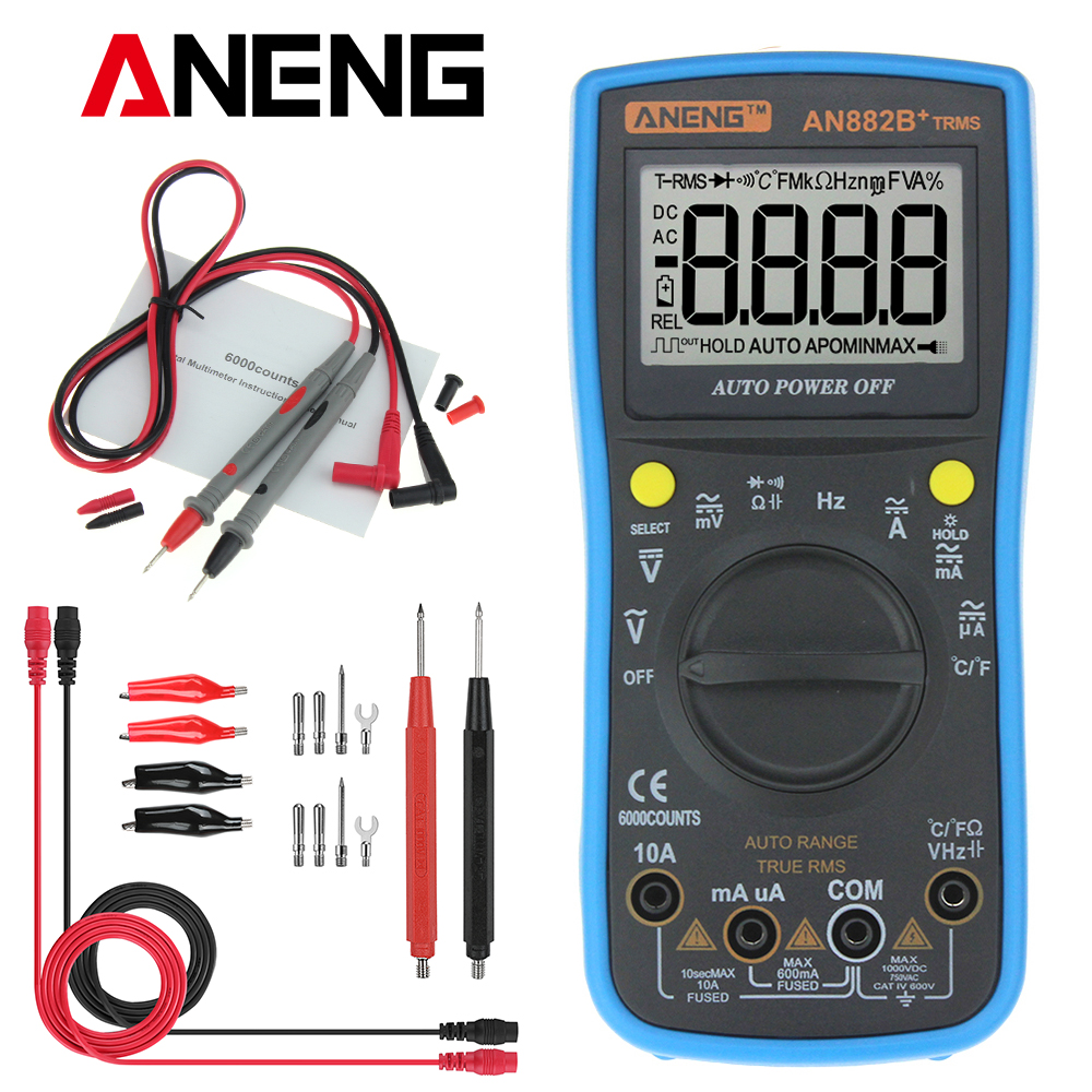 ANENG AN882B+ TRMS are battery-powered TRUE-RMS auto-ranging digital universal meter with a 6000 counts LCD display and backli
