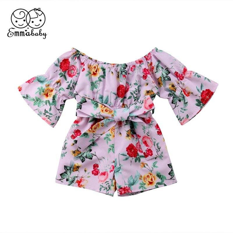 Summer Toddler Baby Kid Girl Off Shoulder Romper Floral Slash Neck Sashes Bow Flare Sleeve 1-5Y Rompers