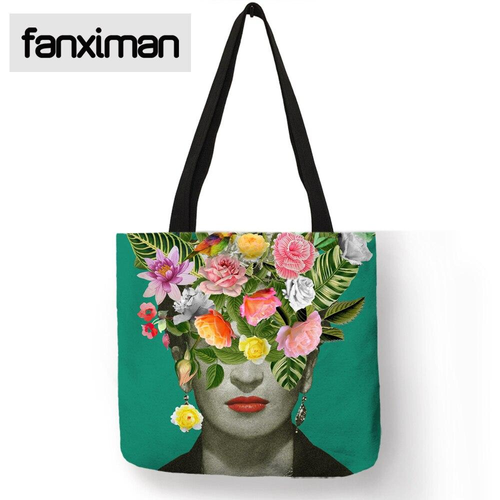 Einzigartige Frida Kahlo Einkaufstasche Home Reise Folding Aufbewahrungstasche Kleidung Lebensmittel Leinen Wiederverwendbare Einkaufs Totes Mode Frauen Handtaschen