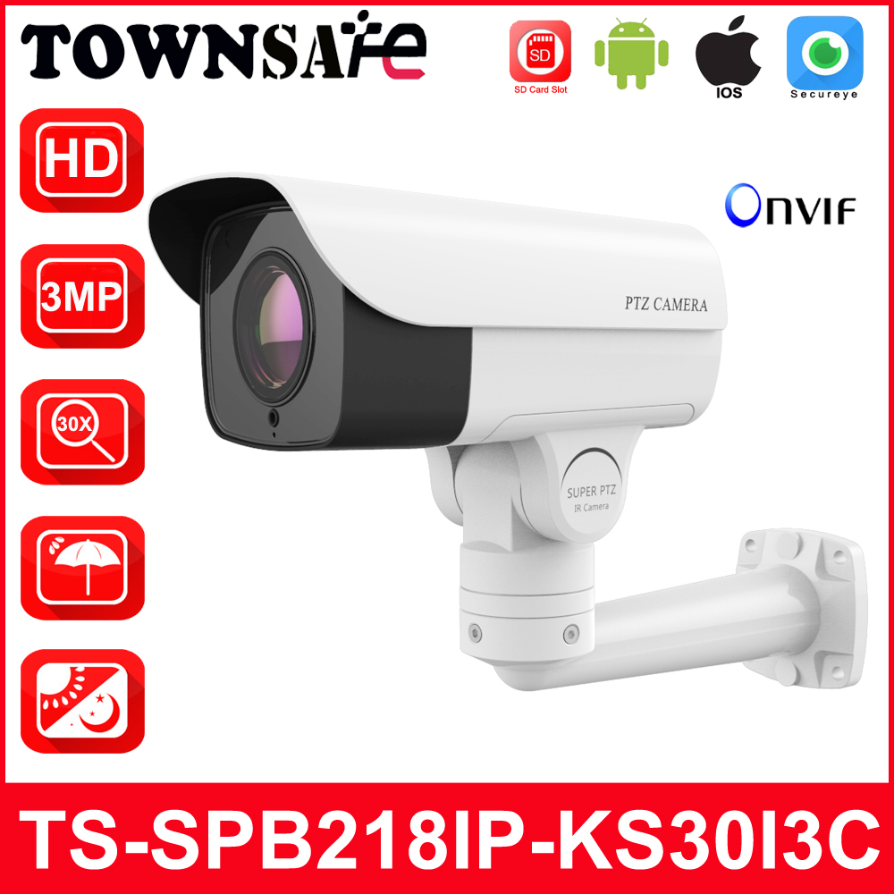 TOWNSAFE new HD 3.0MP PTZ Bullet IP Camera 30X Optical Zoom H.265 ONVIF IR P2P Outdoor IP66 Security Cam With TF Card Slot marviosafer 1080p 2mp new h 264 bullet ptz poe outdoor network ip camera 5 1 51mm 10x optical zoom lens onvif cctv video