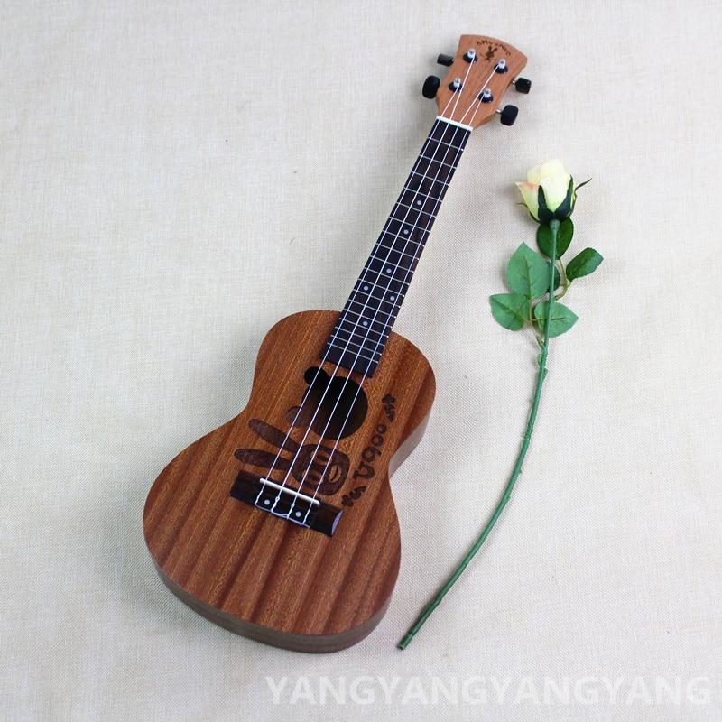 Concert Ukulele 23 Inch Hawaiian Guitar 4 Strings Ukelele Guitarra Handcraft Wood Rebbit Cartoon Mahogany Musical Uke concert ukulele 23 inch hawaiian guitar 4 strings ukelele guitarra handcraft zebra wood musical instruments uke