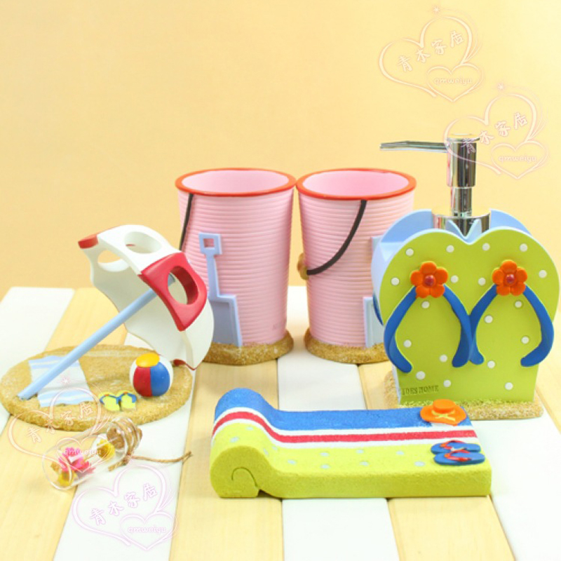 new summer beach five pieces set resin bathroom accessaries wash set toothbrush holder shukoubei dental soap