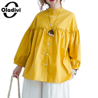 Oladivi Oversized Casual Clothing Plus Size Women Tops Tees 2018 Spring Summer Loose Blouse Shirt Girl