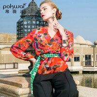 Pokwai Повседневное цветочный шелковая блузка рубашка Для женщин Мода 2018 Новое поступление Высокое качество Длинные Фонари рукавом v образным