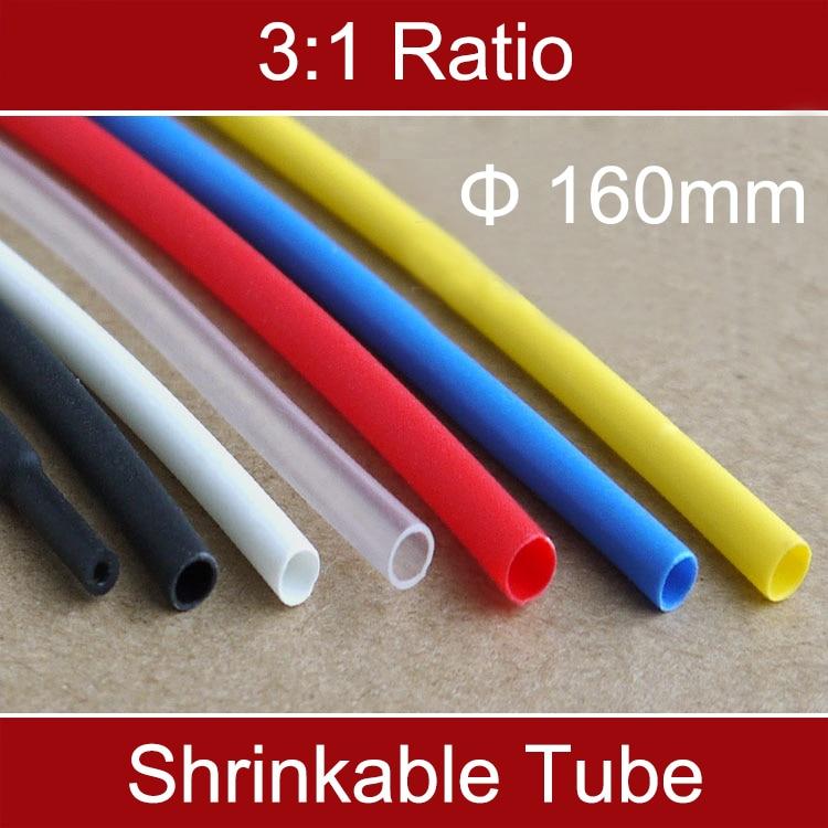 1 m 3:1 160mm À Double Paroi Noir Isolation Étanche Thermosol Doublure Adhésive Câble Manches Thermorétractable Shrinlable Tube