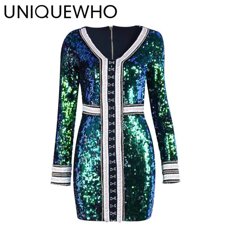 UNIQUEWHO Women Sexy V Neck Sequin Mini Dress Elastic Long Sleeve Bling Sequined Tight Pencil Dress Club Party Dresses Spring baishanglinna 2018 new spring and summer women dress black gray sleeveless knitted dresses sexy tight elastic dress party dress