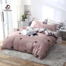ParkShin Love Heart Pattern Bedding Set Pink Bedspread Duvet Cover Stripe Flat Sheet 3/4PCS Pillowcases Adult Bedclothes