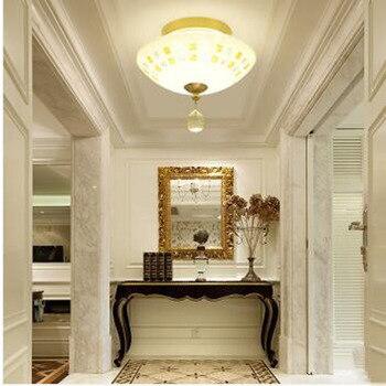 L Koper ronde crystal Europese gangpad verlichting veranda lichten creatieve gang lichten eenvoudige glazen balkon plafondlamp
