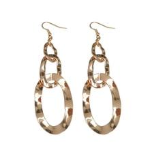 European and American geometric circular three-ring link earrings long section of metal earrings female fashion jewelry gift