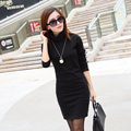 Donna Women Winter Warm Dress Casual Turtle Neck Fleece Inside Mini Dress Long Sleeve Slim Velvet Basic Dress Vestidos L1131C