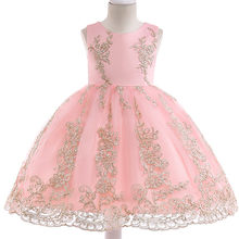 7de1257ecc0686 Hot sprzedam 2018 lato dziewczyna suknia ślubna suknia księżniczka  dziewczyna wyszywana aplikacja suknie urodzinowe dzieci sukienki