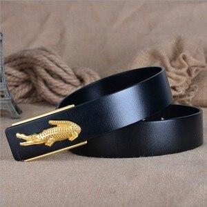 Image 2 - Fashion Business Crocodile Smooth Buckle Designer Belts Men High Quality100% Genuine Leather Belt Men Luxury 110 125cm