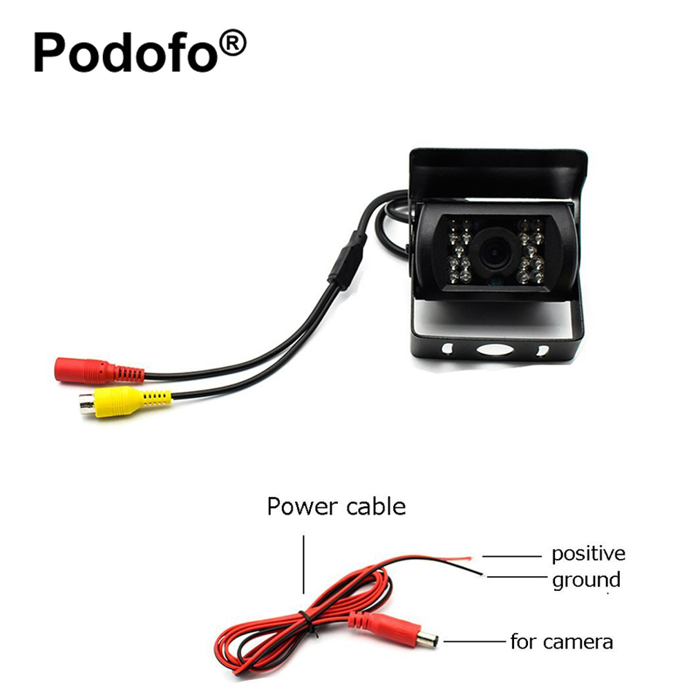Podofo Truck Backup Camera Waterproof 18 IR LED Night Vision Vehicle Rear View Camera 12V -24V (No Guideline)+10M/15M/20M Cable