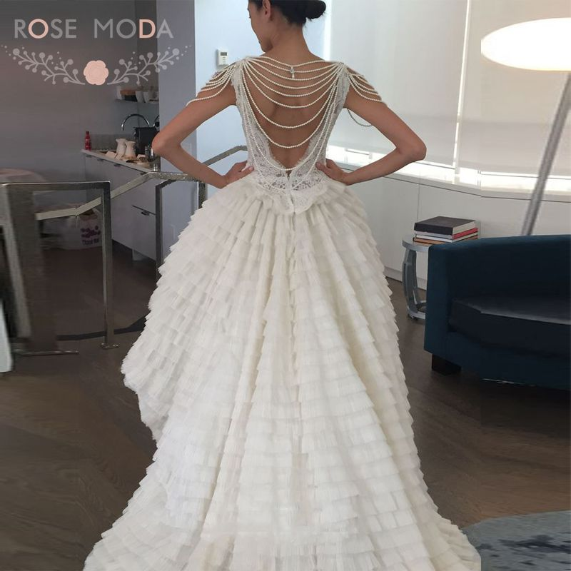 Scalloped High Low Alencon Lace Bodice Wedding Dress With Ruffled Skirt Pearl Beaded Chandelier Sleeve D Back In Dresses From Weddings