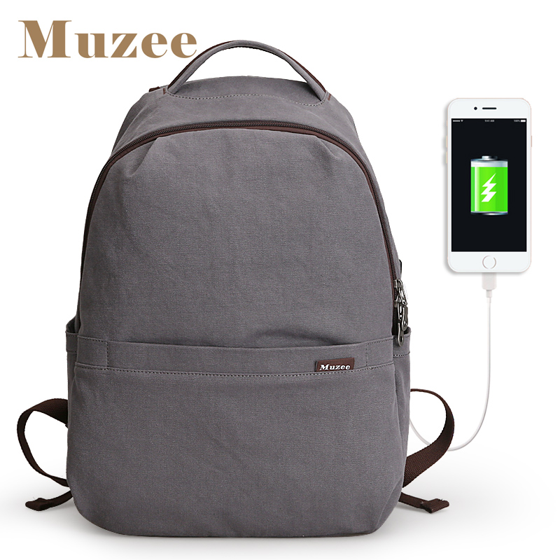 Muzee New Arrivals USB Student Backpack 14 15 6 inch Backpack Fashion 3 colors Backpack