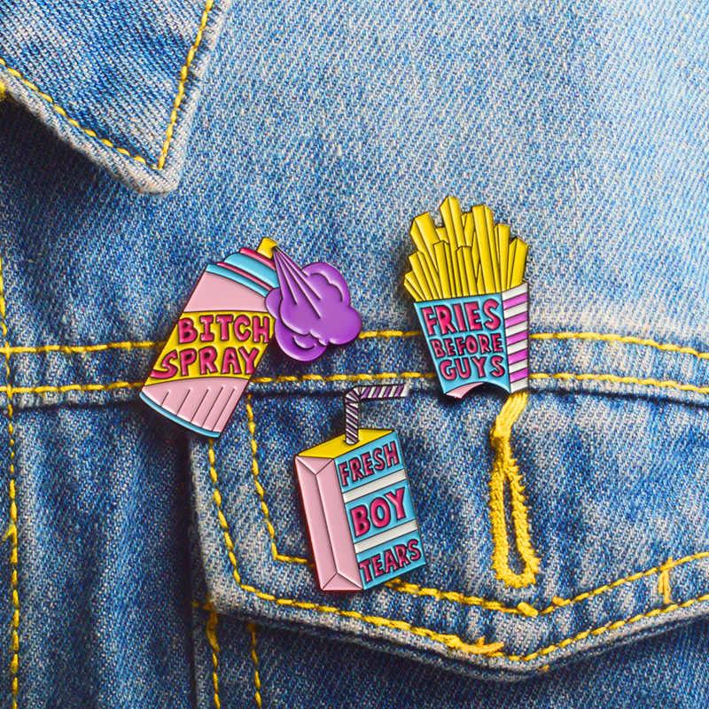 Zinc Alloy Pin dan Bros Bahasa Perancis Goreng Kotak Susu Semprot Kartun Bros Jaket Denim Pin Bros Aksesoris Wanita AFG043