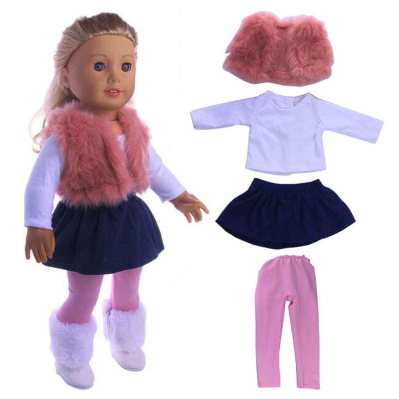 4Pcs/Set American Girl Doll Clothes Set Winter Coat Dress + Legging For 18 Inch Doll Suit Set Fit 43cm Baby Born Zapf Dolls american girl doll clothes superman and spider man cosplay costume doll clothes for 18 inch dolls baby doll accessories d 3