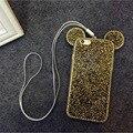 Genuino de moda mickey forma de conejo caja del teléfono protector tpu de lujo del diamante de bling cubierta trasera de color shell para iphone 6 s 6 splus