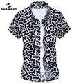 Camisa dos homens novo manga curta-verão grade Geométrica estiramento algodão casual camisas dos homens de Alta qualidade Da Moda Grande tamanho M-7XL