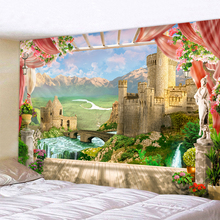 Castle River Outside The Window Printed Tapestry Cheap Hippie Wall Hanging Bohemian Wall Tapestries Mandala Wall Art Decor