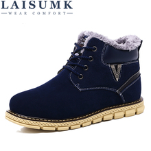 LAISUMK Super Warm Men Winter Boots High Quality Snow For Cow Suede Leatehr Shoes With Fur Mens Ankle