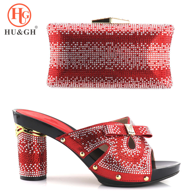 African shoe and bag set high heel Italian shoe with matching bag In Red ladies matching women shoe and bag Italy shoe and bag red african wedding shoe and bag sets women shoe and bag to match for parties elegant italian women shoe and bag set