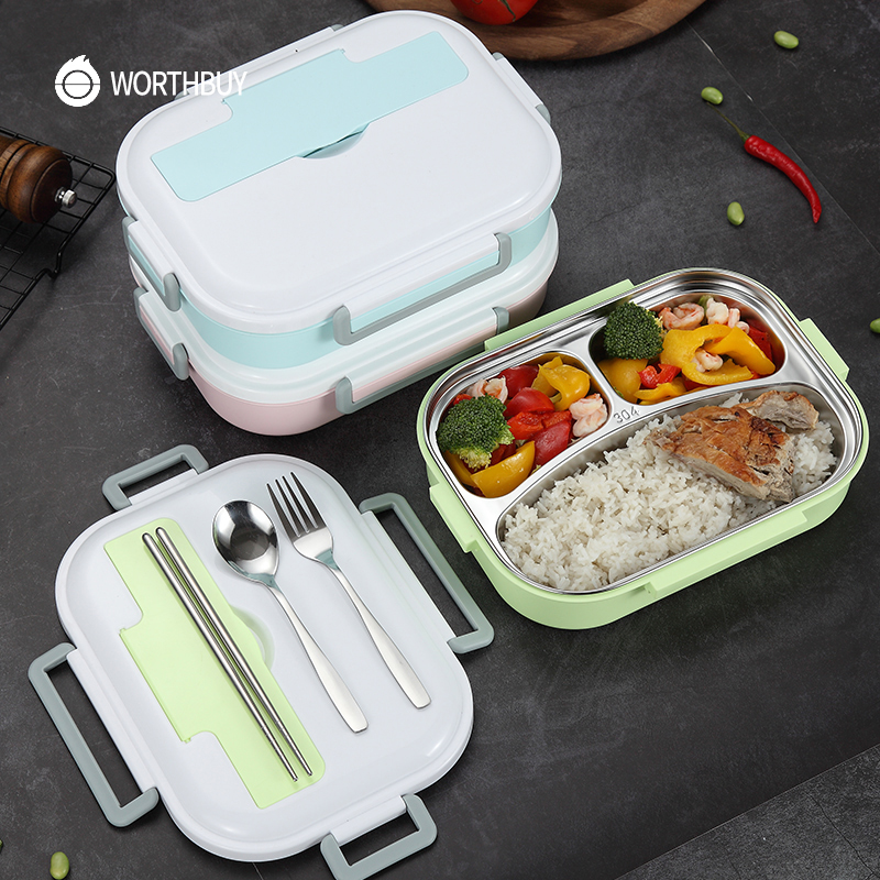WORTHBUY 304 Stainless Steel Lunch Box With Compartments Japanese Microwave Bento Box For Kids School Portable Food Container