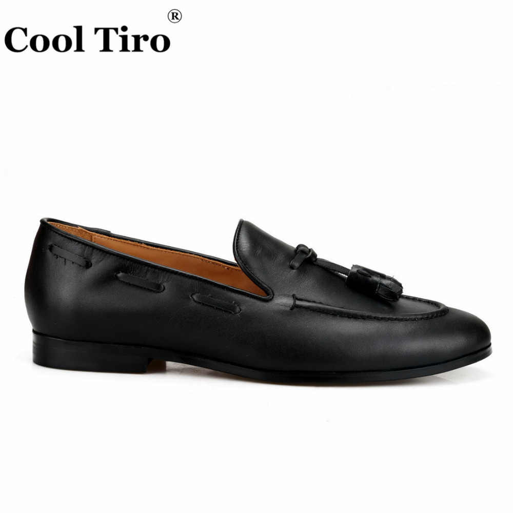 562558f1ab790 ... Cool Tiro Black Tassels Belgian Loafers Men's Moccasins Slippers  Smoking Man Flats Dress Shoes Casual Shoes ...