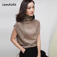 ismtide wool soft elastic turtleneck sleeveless sweater summer women sweater female brand jumpers pullover